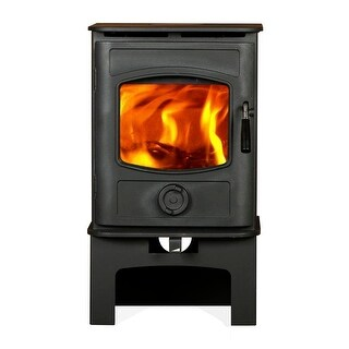HiFlame Graphite HF905UA Small 800Sq.Feet Wood Stove with Log Stand