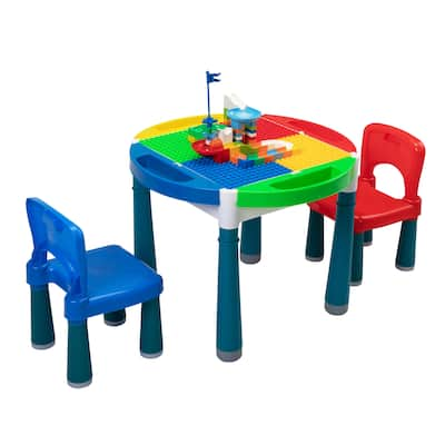 Multi Activity Plastic Table Chair Set Block Toy Toddler Water Table