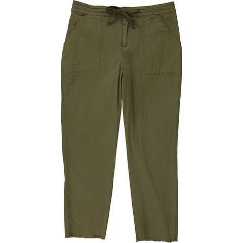 GUESS Womens Drawstring Casual Cargo Pants, Green, 6