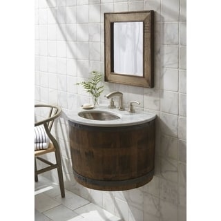 """Native Trails BNDV03 Bordeaux 25"""" Wall Mounted Vanity Set with Wood Cabinet, Marble Top, Sink, and Mirror"""
