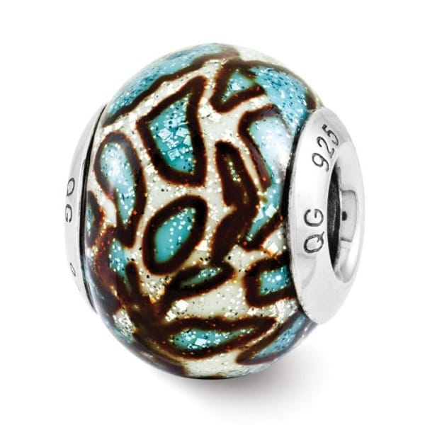 Italian Sterling Silver Reflections Teal Print Overlay Bead (4mm Diameter Hole)
