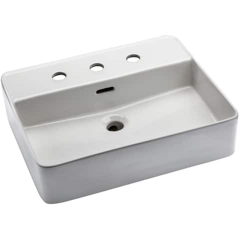 """Mirabelle MIRV308 19-11/16"""" Vessel Style Bathroom Sink with 3 Holes - White"""