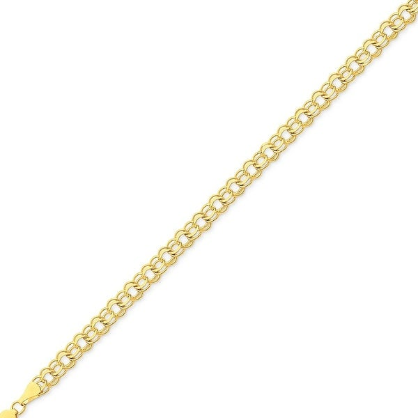 Mcs Jewelry Inc 14 KARAT YELLOW GOLD ROUND LINK CHARM BRACELET (6MM)