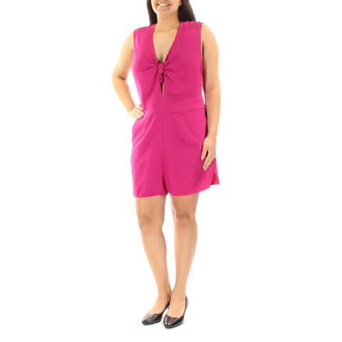 RACHEL ROY Womens Purple Low Cut Tie Sleeveless V Neck Romper Size: 14