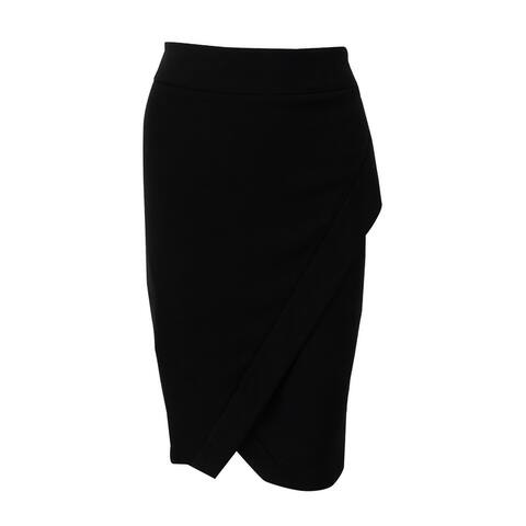 INC International Concepts Women's Asymmetrical Pencil Skirt (4, Deep Black) - Deep Black - 4