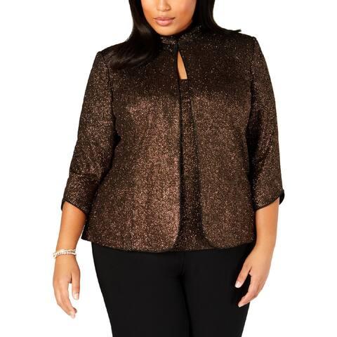 Alex Evenings Womens Plus Jacket 2PC Metallic
