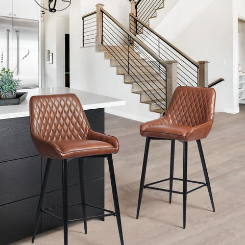 Furniture R Mid-century Modern Upholstered Bar Chair (Set of 2)