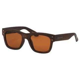 Perry Ellis Mens Plastic Sunglasses Wood Stripe PE71-2, Includes Perry Ellis Pouch, 100% UV Protection - Brown