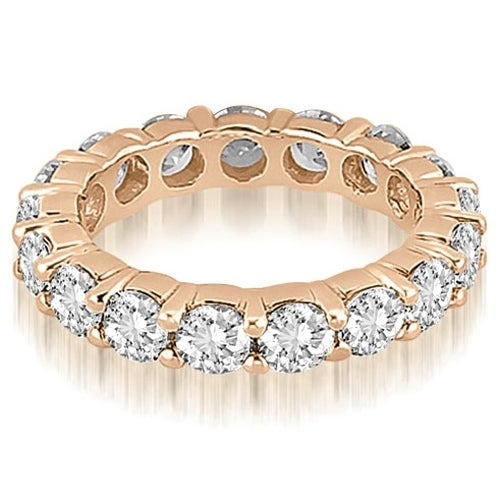 4.80 cttw. 14K Rose Gold Round Shared Prong Diamond Eternity Ring