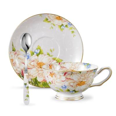 Panbado Bone China Floral Tea Cup Set with Saucer Spoon