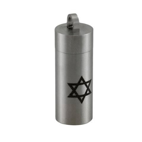 Star of David Stainless Steel Chamber Keepsake Pendant / Pill Vial - One Size