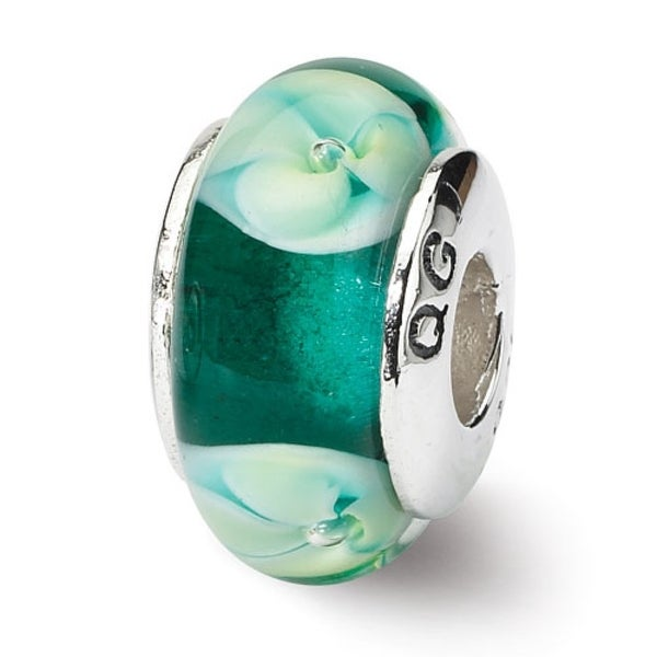 Sterling Silver Reflections Blueish Green Floral Hand-blown Glass Bead (4mm Diameter Hole)