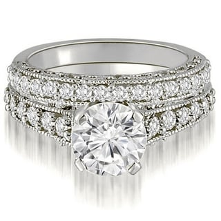 Link to 1.85 CT Vintage Antique Milgrain Round Cut Diamond Bridal Set in 14KT - White H-I Similar Items in Wedding Rings