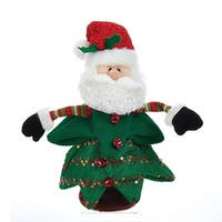 """Pack of 4 Green Singing and Spinning Christmas Tree with Santa Face 12.5"""""""