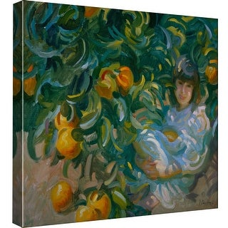 "PTM Images 9-97680  PTM Canvas Collection 12"" x 12"" - ""Under the Orange Tree"" Giclee Children and Women Art Print on Canvas"