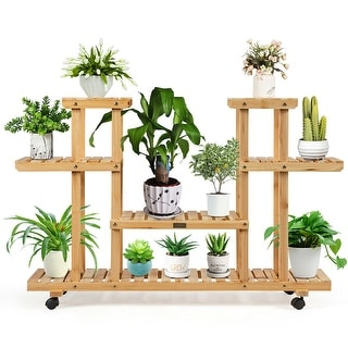 Link to Costway 4-Tier Wooden Plant Stand W/Wheels Multipurpose Storage Rack, - 47.5''x 13''x 31.5'' Similar Items in Planters, Hangers & Stands
