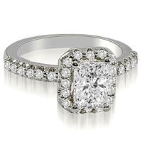 1.42 cttw. 14K White Gold Emerald Cut Halo Diamond Engagement Ring