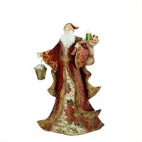"""17.75"""" Red Vintage Postcard Santa Holding Lantern and Gifts Tin Table Top Christmas Decoration - WHITE"""