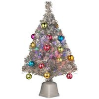 "32"" Pre-lit Silver Tinsel Fiber Optic Artificial Christmas Tree with Ball Ornaments - Multi Lights"
