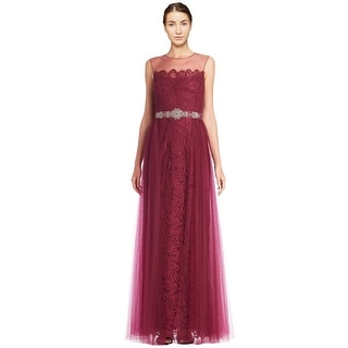 Teri Jon Beaded Belt Lace Tulle Evening Gown Dress - 8