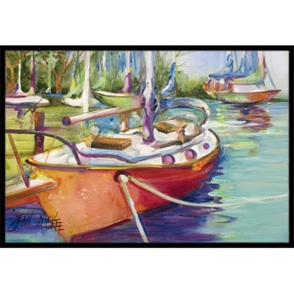 Carolines Treasures JMK1028JMAT Red Sailboat Indoor & Outdoor Mat 24 x 36 in.