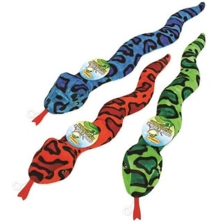 Ruffin' It 16292 Squeaking Plush Snake Dog Toy, Assorted Colors