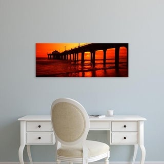 Easy Art Prints Panoramic Image 'Pier at sunset, Manhattan Beach Pier, Los Angeles, California' Canvas Art