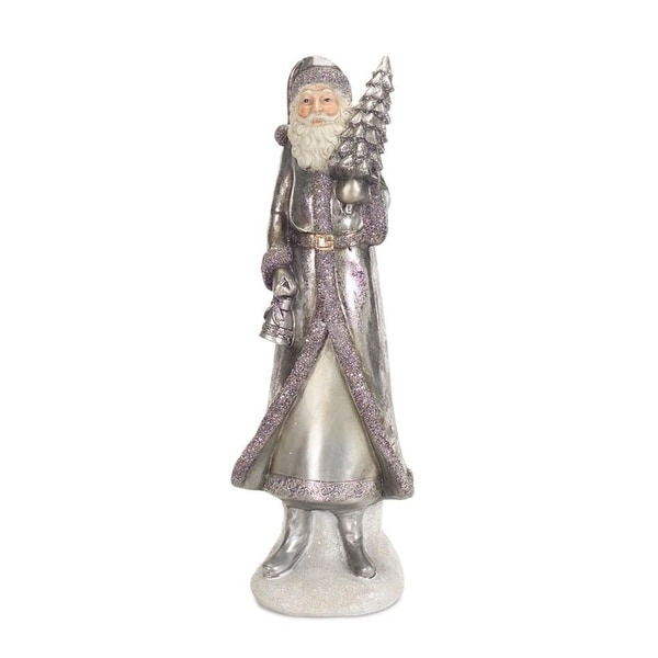 """Set of 2 Decorative Silver Christmas Santa Figurine with Bell and Tree 14"""""""