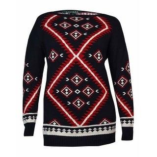 Lauren Ralph Lauren Women\u0027s Geometric Print Sweater (XL, Black Multi) -  Black Multi