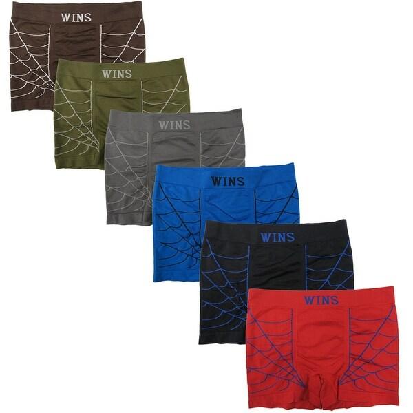 Men's 6 Pack Spider Web Print Seamless Boxer Briefs