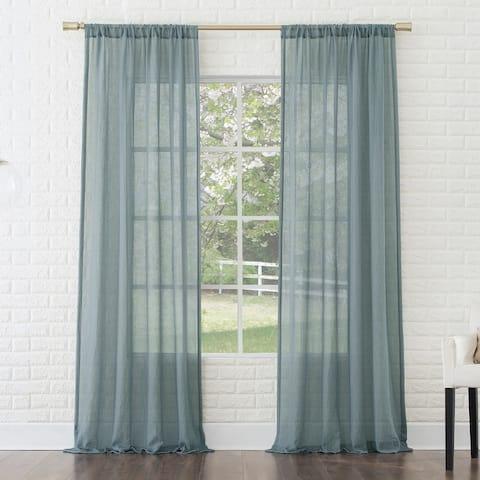 No. 918 Ladonna Crushed Texture Semi-Sheer Rod Pocket Curtain Panel, Single Panel