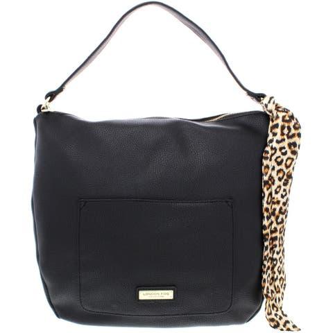 London Fog Lizzt Women's Pebbled Faux Leather Signature Satchel Handbag - Large