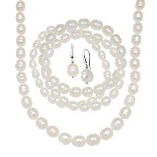 White Ringed Freshwater Pearl Earring, Bracelets & Necklace Set in Sterling Silver