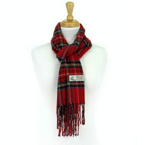 Plaid Cashmere Feel Classic Soft Luxurious Scarf For Men and Women - Red