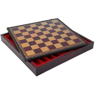 11 Inch Burgundy & Gold Pressed Leather Chess Board and Storage Chest - Multicolored