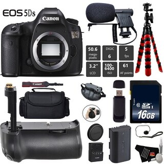 Canon EOS 5DS R DSLR Camera (Body Only) + Professional Battery Grip + Condenser Microphone + Card Reader Bundle - Intl Model