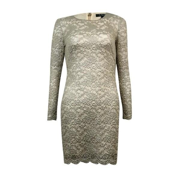 ee562e5d Lauren Ralph Lauren Women's Foil Scalloped Hem Sheath Dress - Silver