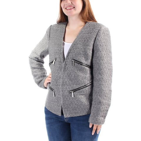 MICHAEL KORS Womens Gray Textured Zippered Suit Jacket Size Size 0 - Size 0