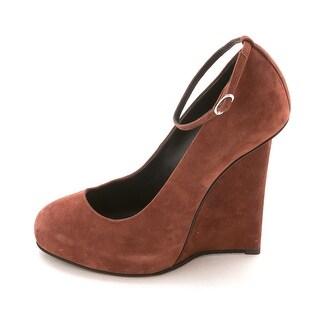 Giuseppe Zanotti Womens I26167 Suede Closed Toe Ankle Strap Wedge Pumps