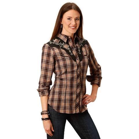 Roper Western Shirt Womens Long Sleeve Black Rust
