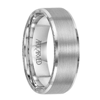 ELLIOT Palladium Wedding Band with Brushed Center and Coin Edged Sides by ArtCarved - 8mm