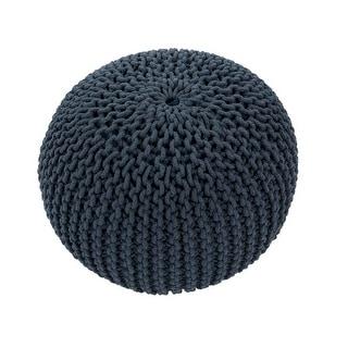 "20"" Blue Gray Round Decorative Spectrum Pouf Ottoman"