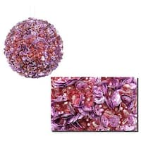 Lavish Lilac Fully Sequined & Beaded Christmas Ball Ornament - 3.5