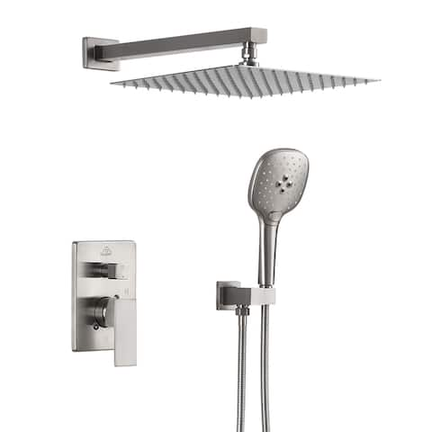 ExBrite Shower Faucet Brushed Nickel 12 inch Luxury Rain Mixer Shower Combo Set Wall Mounted Rain Shower Head System