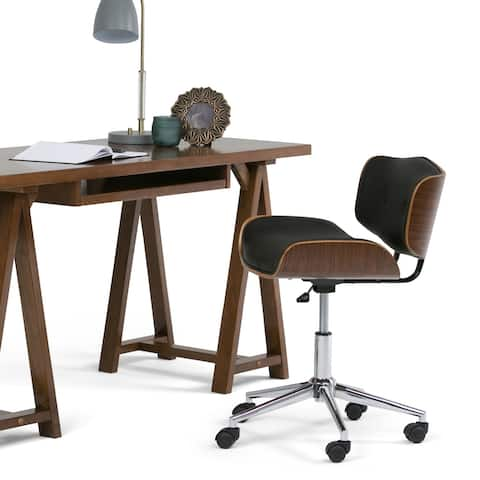 WYNDENHALL Perry Swivel Adjustable Executive Computer Bentwood Office Chair - 22 W x 25 D x 34.1 H