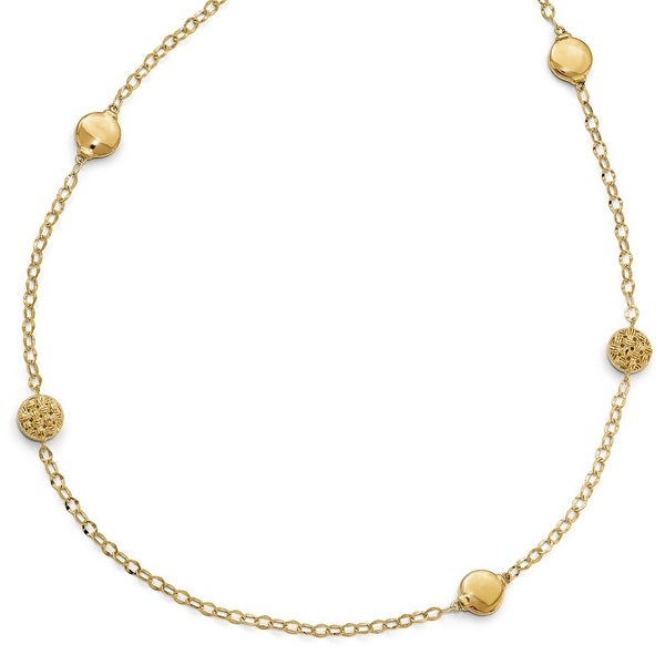Italian 14k Gold Polished and Diamond Cut Necklace - 32 inches