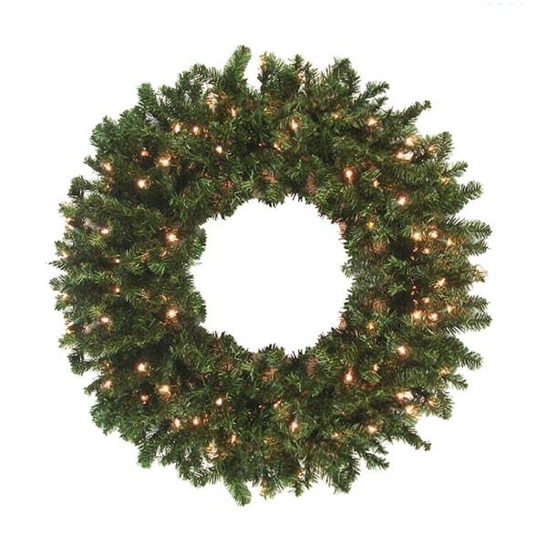 12' Pre-Lit High Sierra Pine Commercial Artificial Christmas Wreath - Clear Lights - green