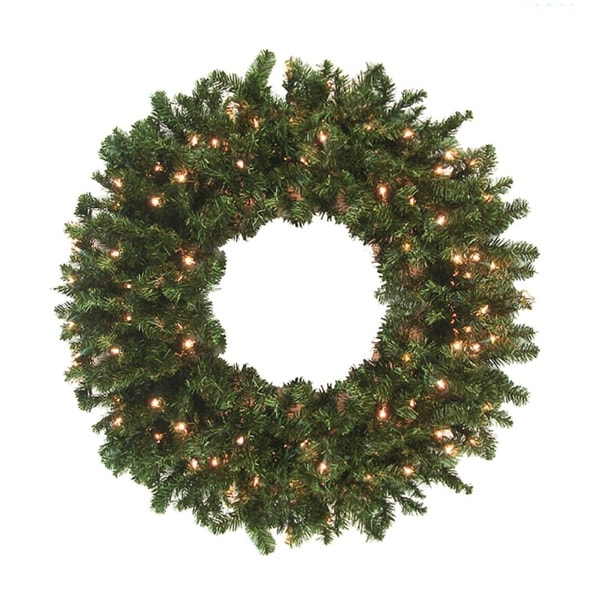8' Pre-Lit High Sierra Pine Commercial Artificial Christmas Wreath - Clear Lights