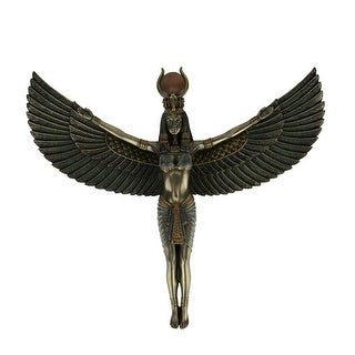 Bronze Finish Isis Egyptian Goddess Spreading Wings Wall Sculpture - 11.25 X 13 X 1.5 inches