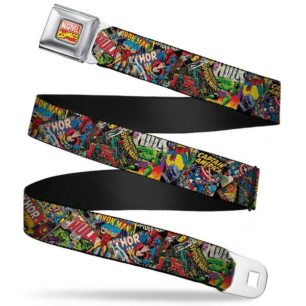 Marvel Comics Marvel Comics Logo Full Color Retro Marvel Comic Books Seatbelt Belt